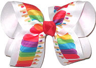 Large Multicolor Popsicles over White Double Layer Overlay Bow
