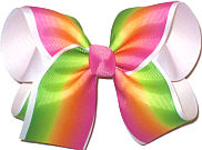 Large Hot Pink Orange Yellow and Green Pastel Stripe over White Double Layer Overlay Bow