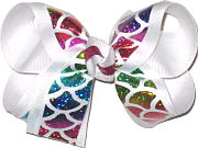 Medium Hologram Glitter Mermaid Scales over White Double Layer Overlay Bow