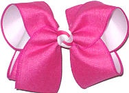 Large Shocking Pink Canvas over White Double Layer Overlay Bow