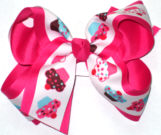 Cupcakes over Shocking Pink Large Double Layer Bow
