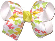 Medium Pastel Butterfly Print over White Double Layer Overlay Bow