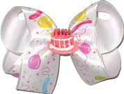 Medium Pastel Party Balloons on Satin over White with Birthday Cake Miniature Double Layer Overlay Bow