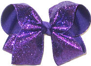Large Purple Glitter over Regql Purple Double Layer Overlay Bow