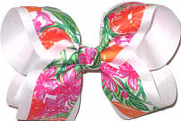 Large Lilly Pulitzer Oranges and Orange Blossoms over White Double Layer Overlay Bow