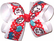 Large Thing 1 and Thing 2 with Fish over White Double Layer Overlay Bow