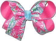 Medium Lilly Pulitzer Lobsters over Hot Pink Double Layer Overlay Bow