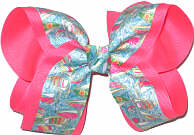 Large Lilly Pulitzer Sailboats over Tutti Fruiti Double Layer Overlay Bow