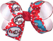 Medium Dr Seuss Cat in the Hat Thing 1 Thing 2 and Fish over White Double Layer Overlay Bow