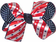Medium Stars and Stripes Satin over Navy with Light Blue Pin Dots Double Layer Overlay Bow