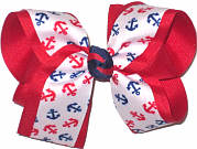 Large Red and Navy Anchors on White over Red Double Layer Overlay Bow