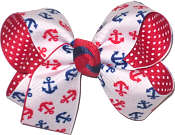 Medium Red and Navy Anchors on White over Red with White Pin Dots Double Layer Overlay Bow