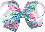 Medium Lilly Pulitzer Coral Reef Print Double Layer Overlay Bow