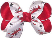 Medium Crawfish and Fleur de Lis Print over Red Double Layer Overlay Bow