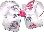 Large Lilly Pulitzer Whales over White Double Layer Overlay Bow