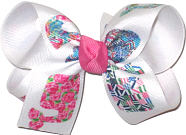 Medium Lilly Pulitzer Whales over White Double Layer Overlay Bow