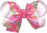 Medium Lilly Pultizer Flamingos over White Double Layer Overlay Bow