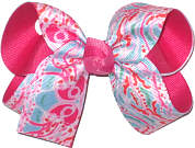 Medium Lilly Pulitzer Jellyfish over Shocking Pink Double Layer Overlay Bow