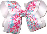 Large Lilly Pulitzer Jellyfish over White Double Layer Overlay Bow