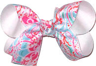 Medium Lilly Pulitzer Jellyfish over White Double Layer Overlay Bow