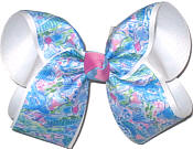 Large Lilly Pulitzer Flowers over White Double Layer Overlay Bow