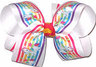 Large Unicorn Rainbows Print over White Double Layer Overlay Bow
