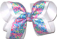 Large Lilly Pulitzer Mermaids over White Double Layer Overlay Bow