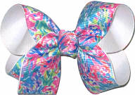Medium Lilly Pulitzer Flowers over White Double Layer Overlay Bow