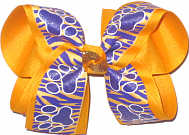 Large Purple and Yellow Gold Tiger Stripes with Purple Paw Prints over Yellow Gold Double Layer Overlay Bow