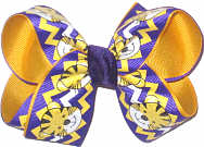 Medium Purple and Yellow Gold Tiger Cub over Yellow Gold Double Layer Overlay Bow