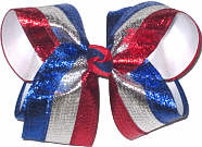 Large Metallic Red White and Blue Stripes over White Double Layer Overlay Bow