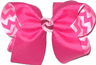 Large Shocking Pink over Shocking Pink and White Chevron Stripes Double Layer Overlay Bow