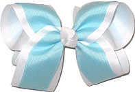 Large Light Blue and White Double Layer Overlay Bow