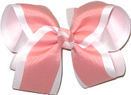 Large Shell Pink and White Double Layer Overlay Bow