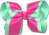 Large Raspberry Rose and Mint Double Layer Overlay Bow
