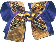 Large Metallic Gold Sequin over Purple Double Layer Overlay Bow