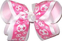 Large Hot Pink and White Soccer Balls over White Double Layer Overlay Bow
