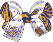 Medium Purple and Gold Tiger and Football over Purple and Gold Tiger Stripes Double Layer Overlay Bow
