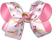 Medium Unicorn Print over Pink Double Layer Overlay Bow