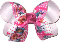 Medium Paw Patrol over White Double Layer Overlay Bow