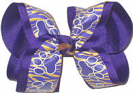 Large Purple Tiger Paws on Purple and Gold Tiger Stripes over Purple Double Layer Overlay Bow