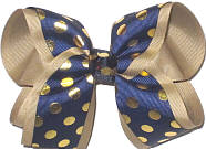 Large Navy with Metallic Gold Dots over Khaki Double Layer Overlay Bow