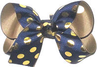 Medium Navy with Metallic Gold Dots over Khaki Double Layer Overlay Bow