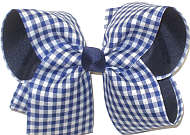 Large Light Navy and White Check over Navy Double Layer Overlay Bow