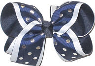 Large Three Layer Navy with Metallic Sliver Dots over White over Navy Double Layer Overlay Bow