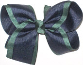 Large Three Layer Navy over Forest over Navy Double Layer Overlay Bow