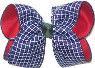 Large Light Navy and White Check over Red Double Layer Overlay Bow