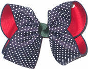 Large Navy with White Pin Dots over Red Double Layer Overlay Bow