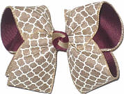 Large Khaki and White Quatrafoil over Burgundy Double Layer Overlay Bow