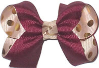 Medium Burgundy over Oatmeal with Metallic Gold Dots Double Layer Overlay Bow
